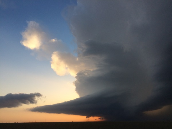Classic Supercell at sunset (with wall cloud)