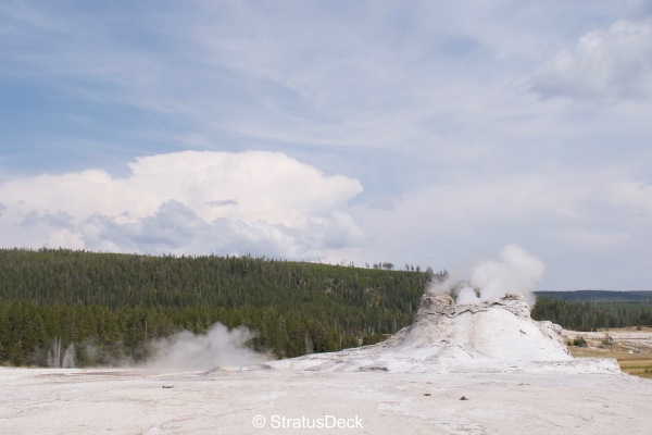 Castle Geyser and multicellular thunderstorm