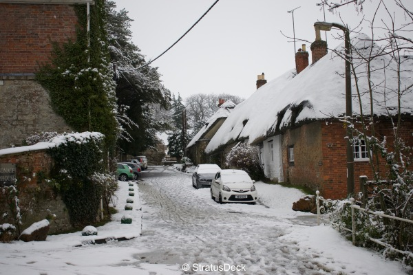 Snowy English village